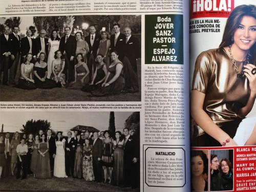 Publicación en la revista HOLA la boda de Juan Jover y Amia Espejo por el fotógrafo profesional Vicente Alfonso