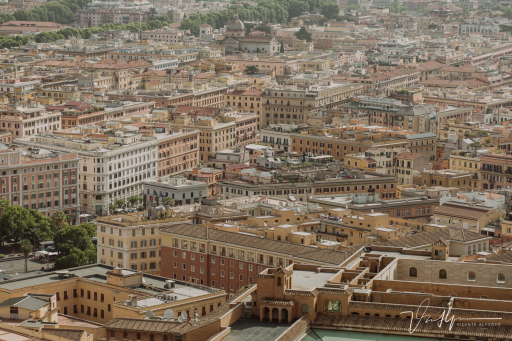 Roma desde lo alto del Vaticano. Basílica de San Pedro.